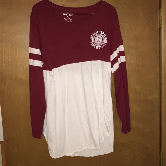 On Fire Tops - Baseball T-shirt styled long sleeve hi-lo